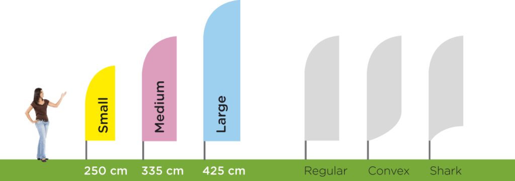 Aluminium beach flag available in many sizes and shapes
