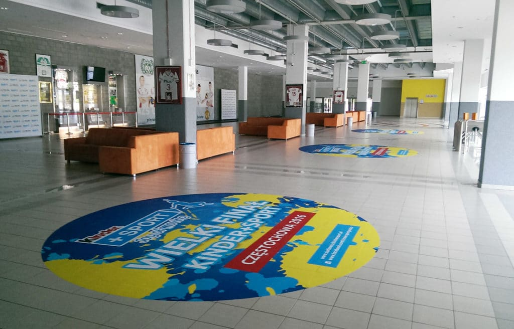 printing of floor stickers for sporting events