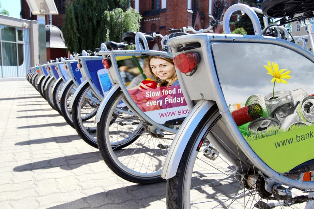 Mobile advertising on bicycle