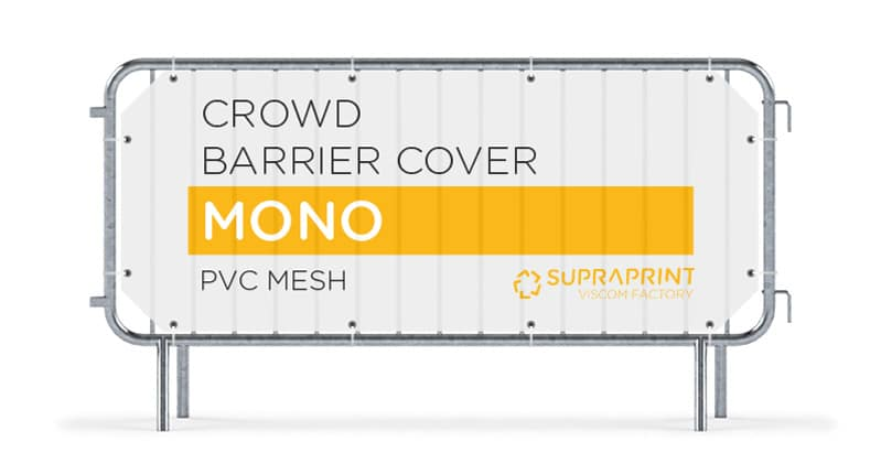 Mesh banner for crowd barrier