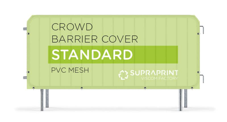 Doublesided mesh cover for crowd barrier