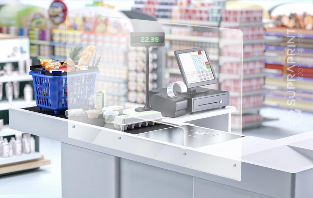 protective clear plexi for supermarket cashier checkout