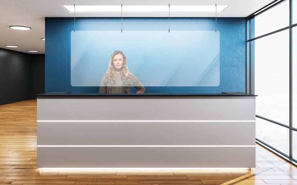 plexiglass shield for reception desk