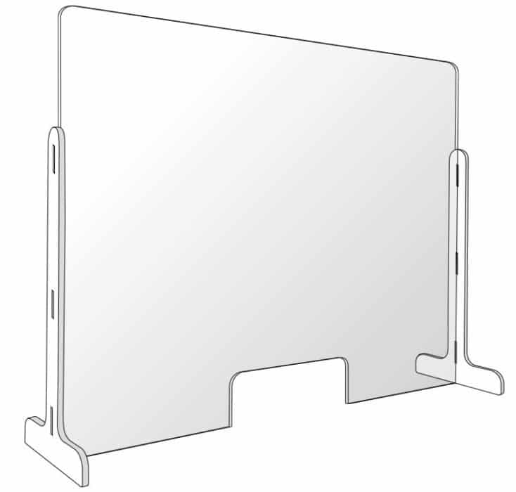 Free-standing protective plexiglass barrier