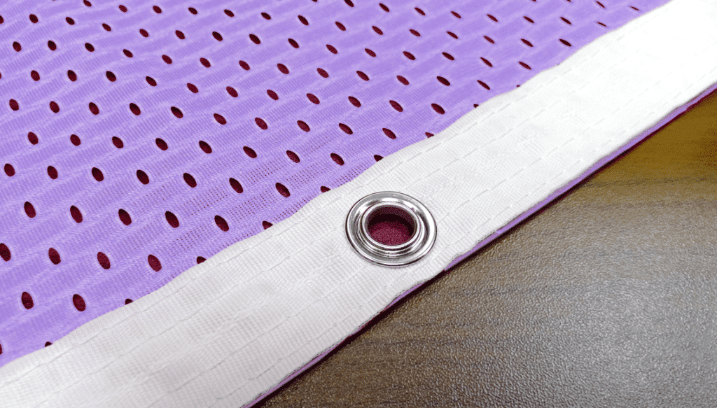 poly banner with reinforced hem
