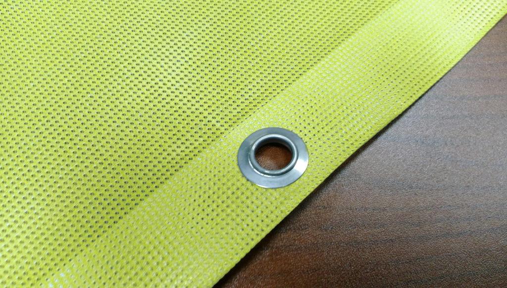 printed vinyl mesh with eyelet