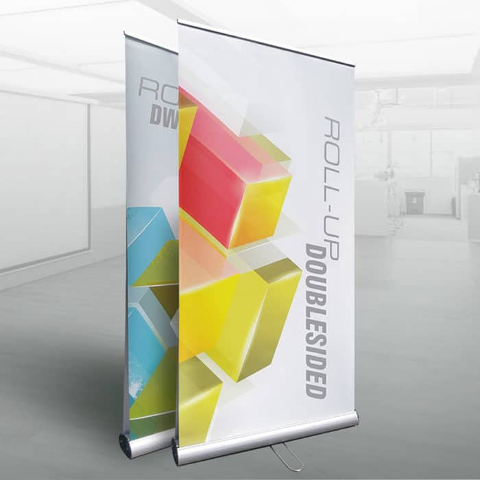 Double-sided retracktable banner