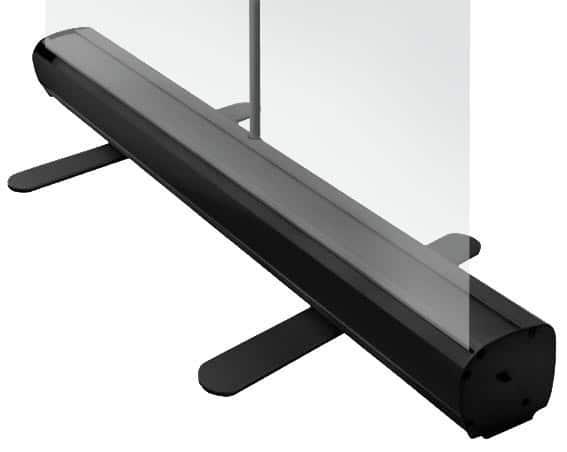 transparent roller banner with black mechanism